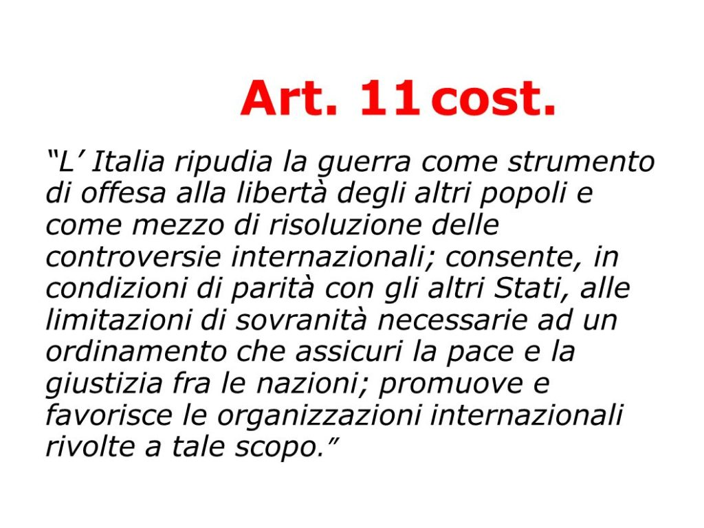 L'italia ripudia la guerra